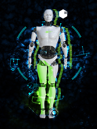 3D rendering of male robot body technology concept. Black background.