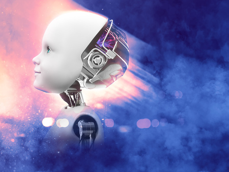 3D rendering of the head of a child robot against a futuristic space background in pink and blue.