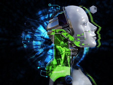 3D rendering of female robot head technology concept. Black background. Stock Photo