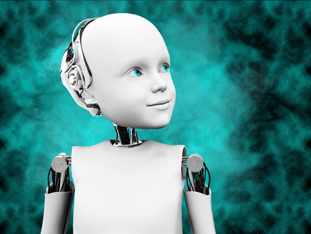 3D rendering of the head of a child robot against a futuristic space background.