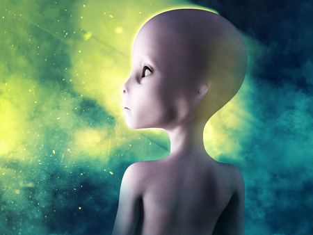 3D rendering of an alien with smoke in the background. Stock Photo
