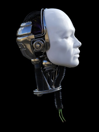 3D rendering of severed male robot head in profile with torn cables coming out from the neck. Black background. Stock Photo