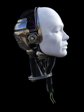 Representación 3D de la cabeza del robot macho cortada en perfil con cables rasgados que salen del cuello. Fondo negro.