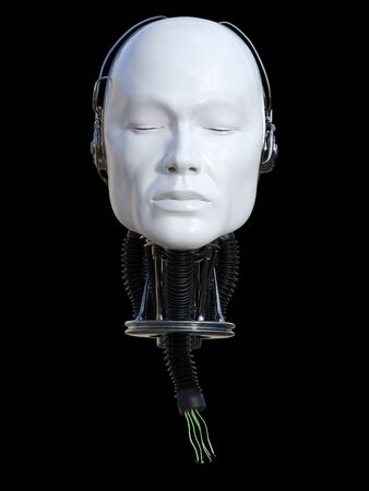 3D rendering of severed male robot head with torn cables coming out from the neck. Black background. Stock Photo
