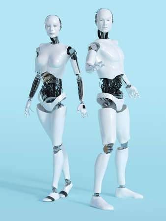 3D rendering of a male and a female robot standing and posing. Bluish background. Stock Photo