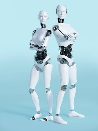 3D rendering of a male and a female robot standing and posing. Looking like they have an attitude with their arms crossed over their chests. Bluish background. Stock Photo