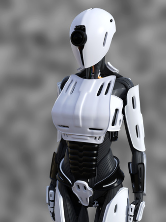 3D rendering of a female android robot standing against a gray background.