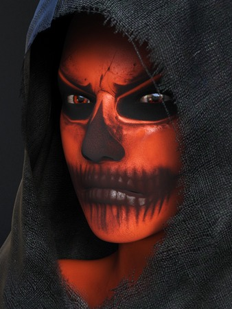 Dark portrait of an angry face painted with Halloween pumpkin makeup, dressed in a black hood, 3D rendering. Black background.