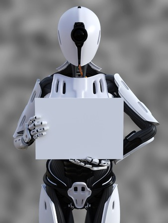 3D rendering of a female android robot holding a blank sign in its hand against a gray background. Stock Photo