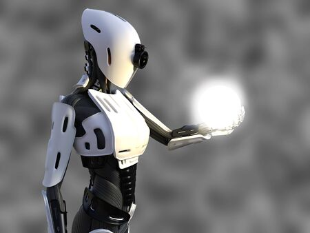 3D rendering of a female android robot holding a glowing sphere of energy or light in her hand against a gray background. Stock Photo