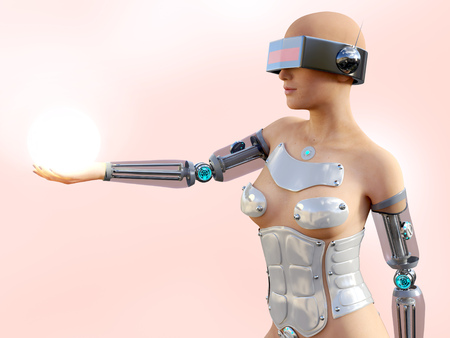 3D rendering of a sexy female android robot holding a glowing sphere of energy or light in her hand against a pink background. Stock Photo