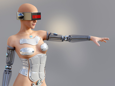 cybernetics: 3D rendering of a sexy female android robot posing against a gray background.