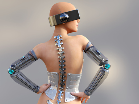 3D rendering of a sexy female android robot posing with her back against the camera. Gray background. Stock Photo