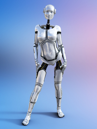 3D rendering of a female android robot posing against a multicolored background. Stock Photo