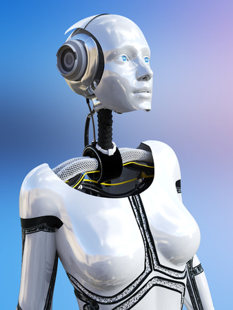 3D rendering of a female android robot against a multicolored background. Stock Photo