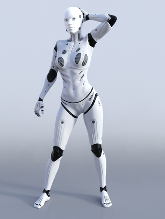 3D rendering of a female robot standing and posing. Gray background. Stock Photo