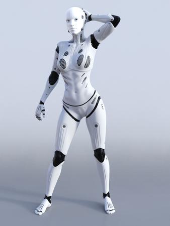 Representación 3D de un robot femenino de pie y posando. Fondo gris Foto de archivo