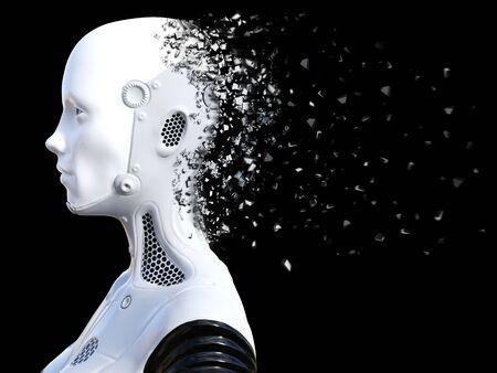 3D rendering of the head of a female robot. The head is breaking apart. Black background. Stock Photo