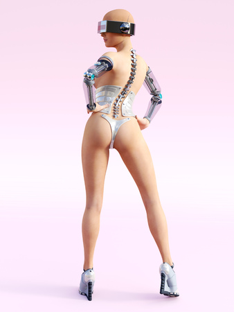 3D rendering of a sexy female android robot posing with her back against the camera. Pink background.