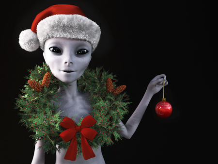 3D rendering of a smiling alien wearing a holiday wreath and Santa hat for Christmas. Black background. Stock Photo