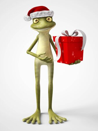 3D rendering of a smiling, cartoon frog wearing a Santa hat and holding a Christmas present. White background.