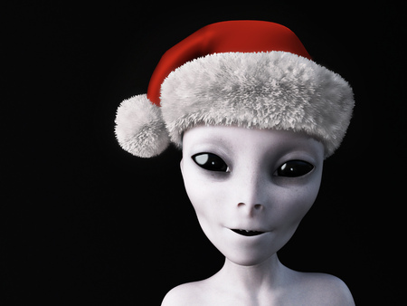 3D rendering of a smiling alien wearing a Santa hat for Christmas. Black background.