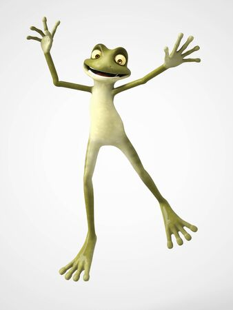 skip: 3D rendering of a smiling, cartoon frog jumping for joy. White background.