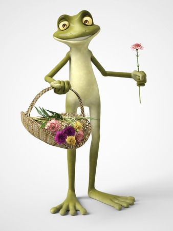3D rendering of a smiling, cartoon frog holding a carnation in one hand and a basket of carnation flowers in the other. White background.