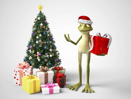 3D rendering of a smiling, cartoon frog wearing a Santa hat and holding a Christmas present. He stands beside a Christmas tree with gifts under it. White background.