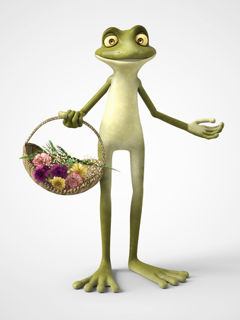 3D rendering of a smiling, cartoon frog holding a basket of carnation flowers. White background.