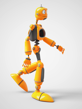 3D rendering of a yellow cartoon robot walking. White background.