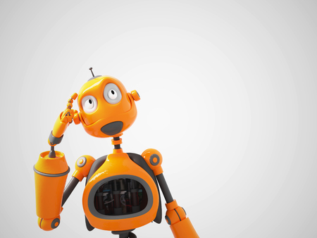 3D rendering of a yellow cartoon robot thinking about something. White background.