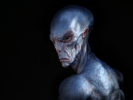 Portrait of an alien creature with its back turned against the camera, 3D rendering. Black background. Stock Photo