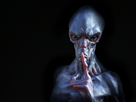 Portrait of an alien creature hushing with its finger on its lips like he is silencing you, 3D rendering. Black background.