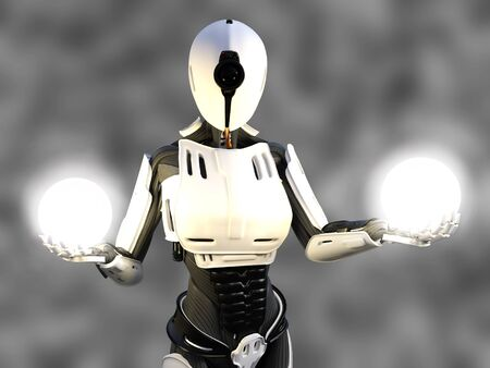 3D rendering of a female android robot holding two glowing spheres of energy or light in her hands against a gray background. Stock Photo