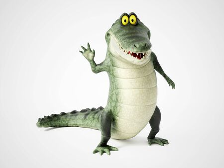 3D rendering of a cute, friendly cartoon crocodile standing up and waving hello.