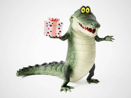 3D rendering of a cute, friendly cartoon crocodile holding a present in his hand.