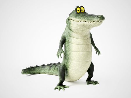 3D rendering of a cute, friendly cartoon crocodile standing up and smiling. Stock Photo
