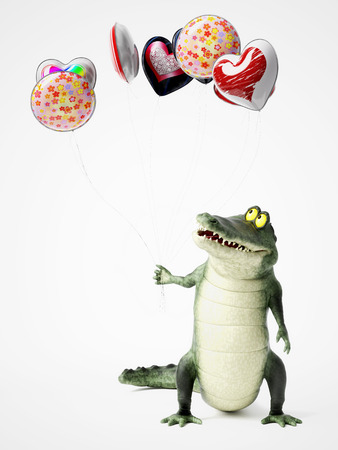 3D rendering of a cute, friendly cartoon crocodile holding a bunch of balloons in his hand.