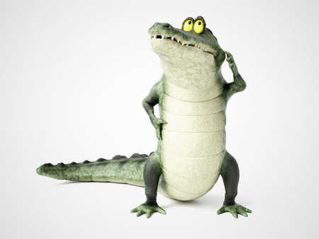 3D rendering of a cute, friendly cartoon crocodile thinking about something. Stock Photo