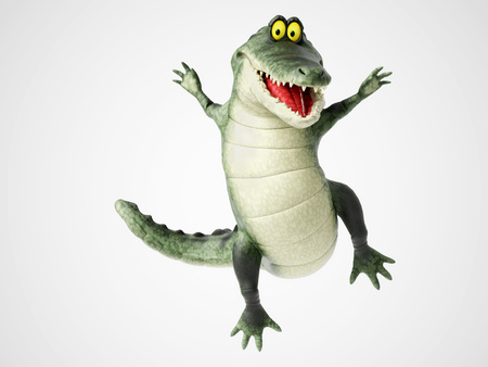 3D rendering of a cute, friendly cartoon crocodile smiling and jumping for joy.