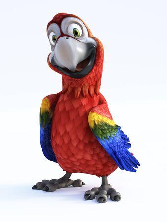미소 하 고 매우 행복을 찾고 만화 앵무새의 3D 렌더링. 흰색 배경.