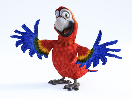 3D rendering of cartoon parrot smiling and looking very happy with its wings out. White background. Stock Photo