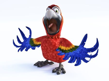 3D rendering of cartoon parrot screaming and looking very angry with its wings out. White background.