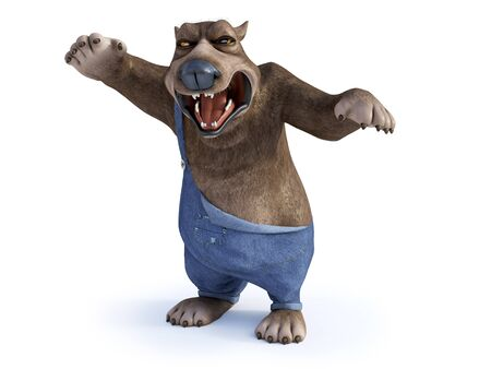 3D rendering of a cartoon bear looking very angry, ready to attack. White background. Stock Photo