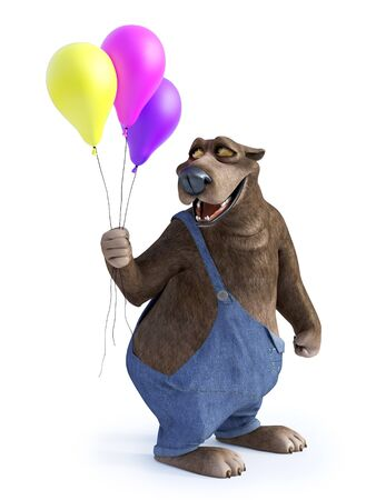 3D rendering of a charming smiling cartoon bear holding three balloons in his hand. White background. Stock Photo