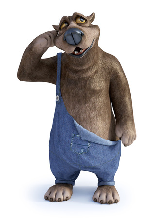 3D rendering of a charming smiling cartoon bear thinking about something, looking a bit confused. White background.