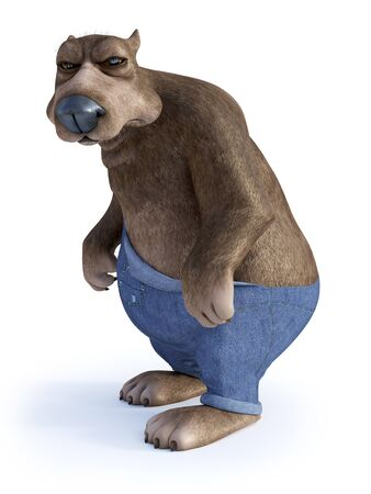 3D rendering of a cartoon bear looking very grumpy or angry. White background.