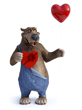 3D rendering of a charming smiling cartoon bear holding a heart shaped red balloon in one hand and a chocolate box in the other. Ready for Valentines day White background.