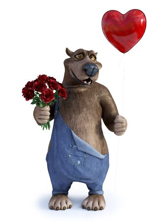 3D rendering of a charming smiling cartoon bear holding a heart shaped red balloon in one hand and a bouquet of roses in the other.